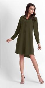 Sukienka Ivon koszulowa z długim rękawem z tkaniny