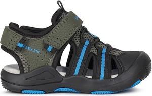 Czarne buty dziecięce letnie Geox na rzepy ze skóry