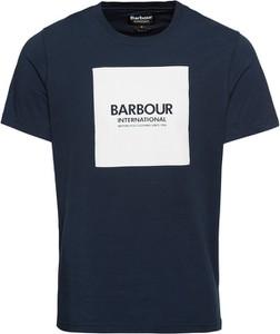 Niebieski t-shirt Barbour z krótkim rękawem z dżerseju