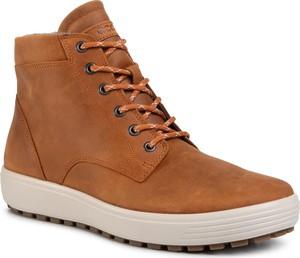 Brązowe buty zimowe Ecco ze skóry sznurowane