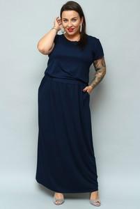 Sukienka KARKO prosta z okrągłym dekoltem maxi