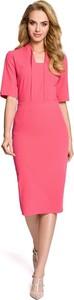 Różowa sukienka MOE ołówkowa midi z krótkim rękawem