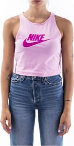 Różowa bluzka Nike z bawełny z okrągłym dekoltem
