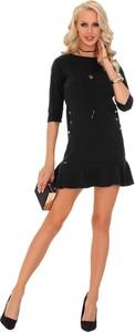 Czarna sukienka MERRIBEL z dzianiny mini z długim rękawem