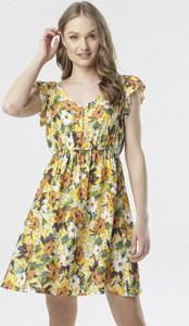 Żółta sukienka born2be mini z dekoltem w kształcie litery v
