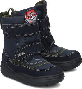 Granatowe buty dziecięce zimowe Naturino na rzepy z zamszu