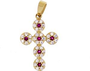 producent niezdefiniowany Złota zawieszka krzyż z cyrkoniami