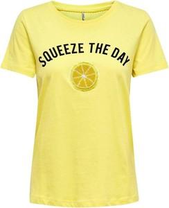 Żółty t-shirt Only z krótkim rękawem z okrągłym dekoltem