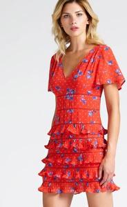 Czerwona sukienka Guess z tkaniny z krótkim rękawem z dekoltem w kształcie litery v