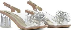 Srebrne sandały Sca'viola ze skóry z klamrami na obcasie