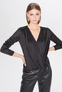 Czarna bluzka Mohito z dekoltem w kształcie litery v z długim rękawem