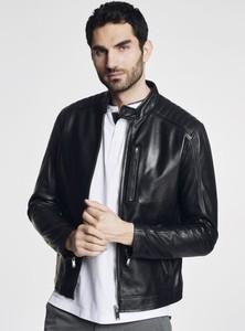 Czarna kurtka Ochnik w stylu casual ze skóry