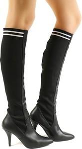 Czarne kozaki Vices na szpilce przed kolano