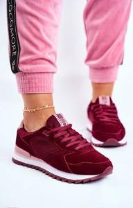 Czerwone buty sportowe Big Star ze skóry sznurowane