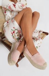 Różowe espadryle Renee w stylu retro z tkaniny