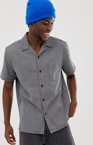 Koszula Asos Design z jeansu z klasycznym kołnierzykiem z krótkim rękawem