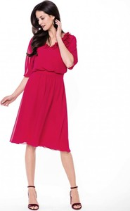 Sukienka L'AF rozkloszowana z długim rękawem z dekoltem w kształcie litery v