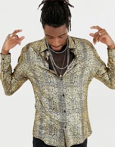 Złota koszula Jaded London z nadrukiem z długim rękawem