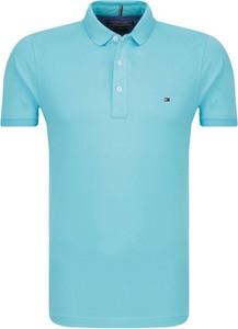 Niebieski t-shirt Tommy Hilfiger z krótkim rękawem w stylu casual z bawełny
