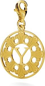 GIORRE SREBRNY CHARMS ROZETA Z LITERĄ 925 : Kolor pokrycia srebra - Pokrycie Żółtym 24K Złotem, Litera - Y