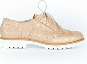 Złote półbuty Zapato ze skóry sznurowane