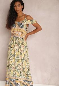 Żółta sukienka Renee z krótkim rękawem z dekoltem w kształcie litery v