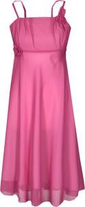 Różowa sukienka Fokus midi z tkaniny