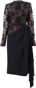 Czarna sukienka Alexander McQueen z bawełny z długim rękawem