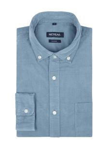 Niebieska koszula McNeal ze sztruksu z długim rękawem z klasycznym kołnierzykiem