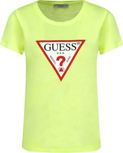 Zielony t-shirt Guess Jeans z krótkim rękawem w młodzieżowym stylu z okrągłym dekoltem