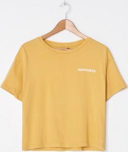Żółty t-shirt House z okrągłym dekoltem