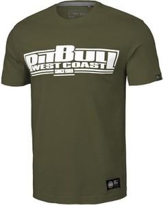 Zielony t-shirt Pit Bull z krótkim rękawem z bawełny