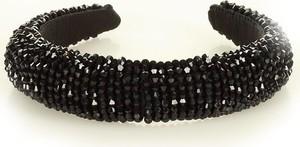 Gk-Style Ponadczasowa ozdoba opaska na włosy wysadzana kamieniami na satynie diadem MAZZINI czarny