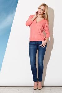 Różowa bluzka Figl z długim rękawem
