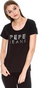 Czarny t-shirt Pepe Jeans z krótkim rękawem w stylu casual