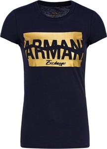 Czarny t-shirt Armani Jeans z okrągłym dekoltem w stylu casual z krótkim rękawem