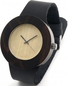 Drewniany zegarek naturalny bewell na czarnym pasku