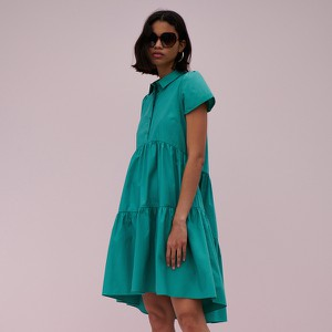 Zielona sukienka Reserved z okrągłym dekoltem z bawełny