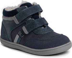 Granatowe buty dziecięce zimowe Mayoral z jeansu na rzepy