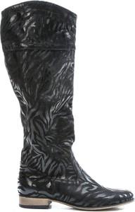 Czarne kozaki Zapato ze skóry