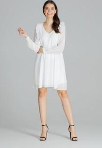 Sukienka LENITIF z szyfonu mini z długim rękawem