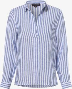 Niebieska bluzka Franco Callegari z lnu z dekoltem w kształcie litery v