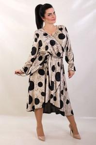 Sukienka Oscar Fashion z długim rękawem z dekoltem w kształcie litery v w stylu casual