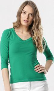 Zielona bluzka born2be z długim rękawem w stylu casual