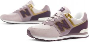Różowe buty sportowe New Balance w sportowym stylu sznurowane z płaską podeszwą