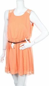 Pomarańczowa sukienka K. Woman mini z okrągłym dekoltem