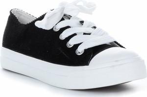 Czarne trampki Ideal Shoes z tkaniny