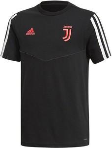 Czarna koszulka dziecięca Adidas z krótkim rękawem w paseczki