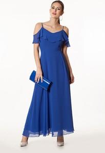 Niebieska sukienka Semper maxi z krótkim rękawem z dekoltem w kształcie litery v