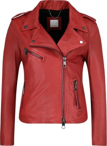 Czerwona kurtka BOSS Casual w stylu casual krótka ze skóry